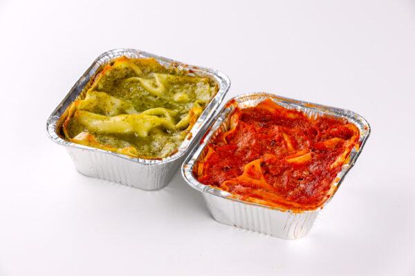Lasagne al pesto di Pra e Lasagne al Ragù - gastronomia - focacceria pasticceria Di Cara - Genova Pegli